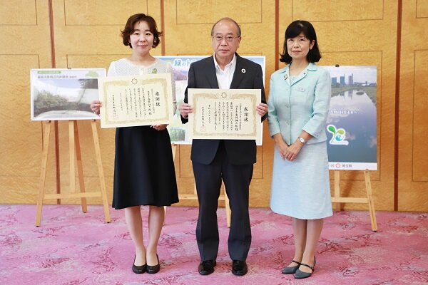 右から、埼玉県環境部の小池要子環境部長、コープみらい財団の永井伸二郎理事長、コープみらいの冨沢雅子組合員理事