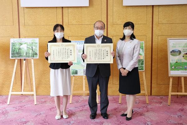 右から、埼玉県環境部の小池要子環境部長、コープみらい財団の永井伸二郎理事長、コープみらいの佐竹美津江組合員理事